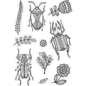 Silikonestempler, ark 11x15,5 cm, insekter, 1ark