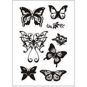 Silikonestempler, ark 11x15,5 cm, sommerfugle, 1ark