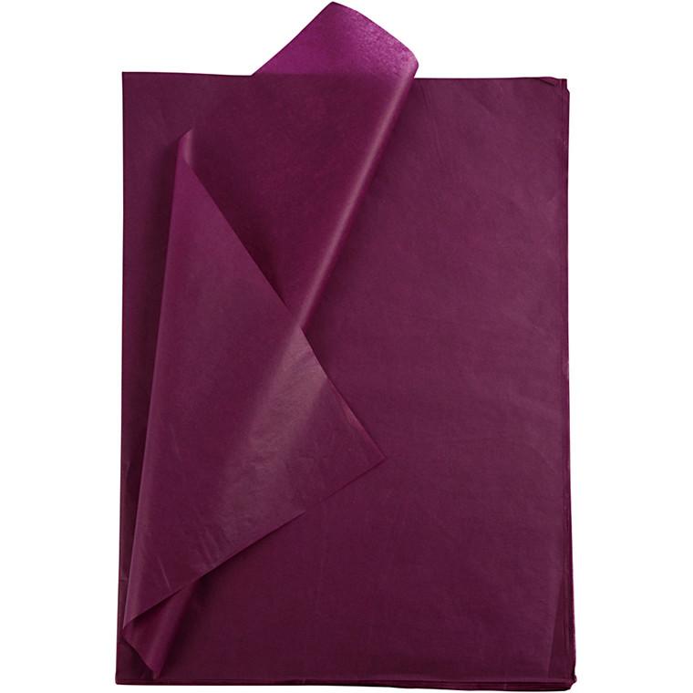 Silkepapir, ark 50x70 cm, 14 g, bordeaux, 10ark