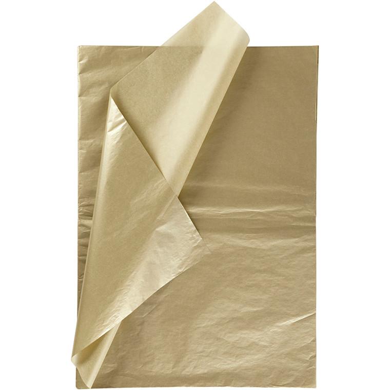 Silkepapir, ark 50x70 cm, 14 g, guld, 6ark