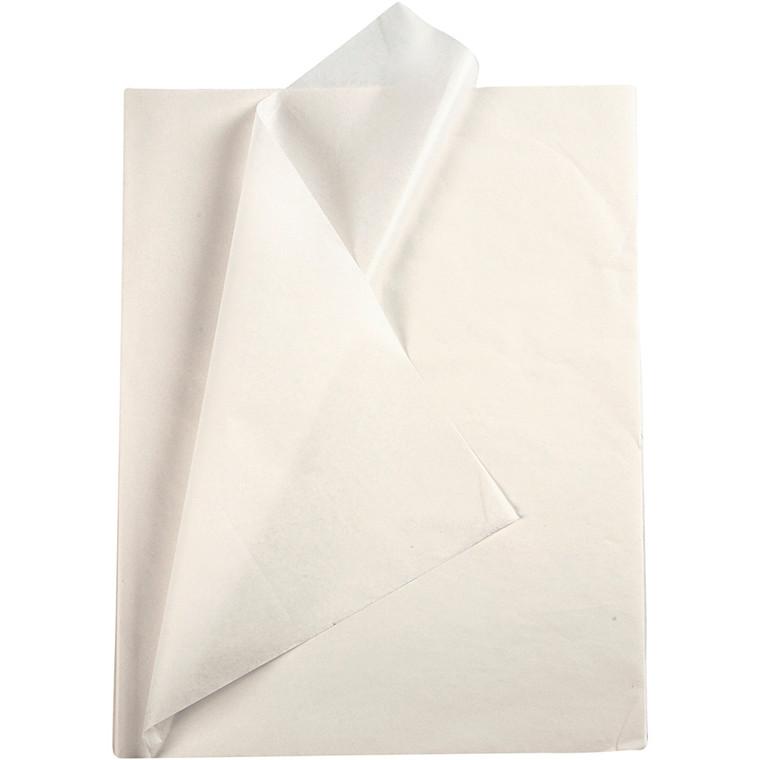 Silkepapir, ark 50x70 cm, 14 g, hvid, 10ark