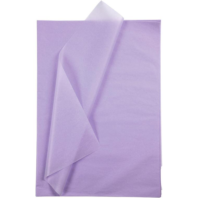 Silkepapir, ark 50x70 cm, 14 g, lys lilla, 10ark