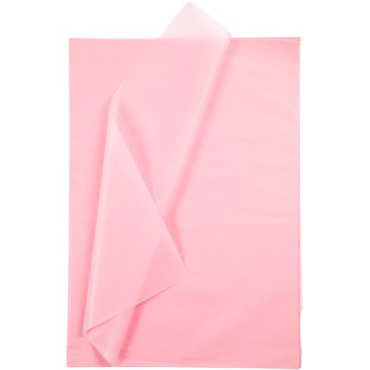 Silkepapir, ark 50x70 cm, 14 g, lys rosa, 10ark