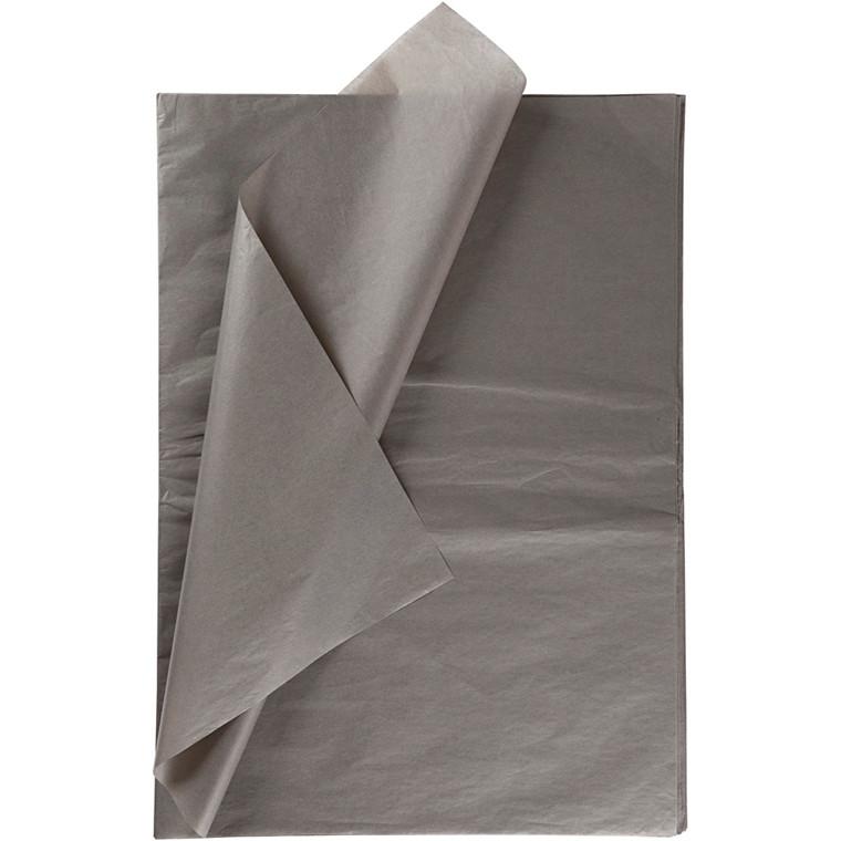 Silkepapir, ark 50x70 cm, 14 g, mørk grå, 10ark
