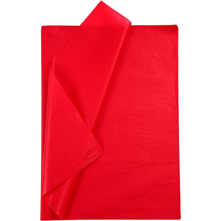 Silkepapir, ark 50x70 cm, 14 g, rød, 10ark