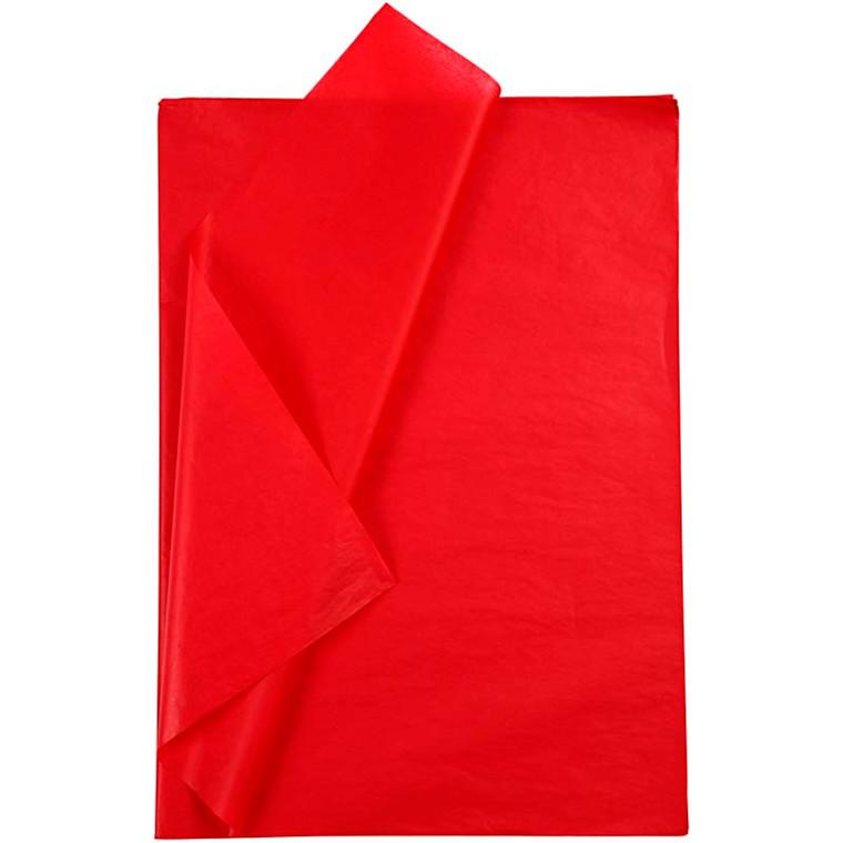 Silkepapir, ark 50x70 cm, 14 g, rød, 25ark