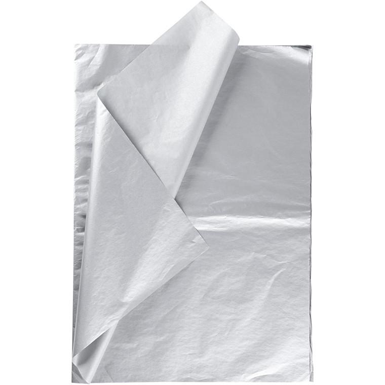 Silkepapir, ark 50x70 cm, 14 g, sølv, 6ark