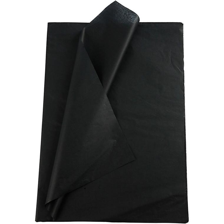 Silkepapir, ark 50x70 cm, 14 g, sort, 10ark