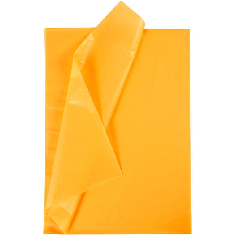 Silkepapir, ark 50x70 cm, 17 g, gul, 10ark