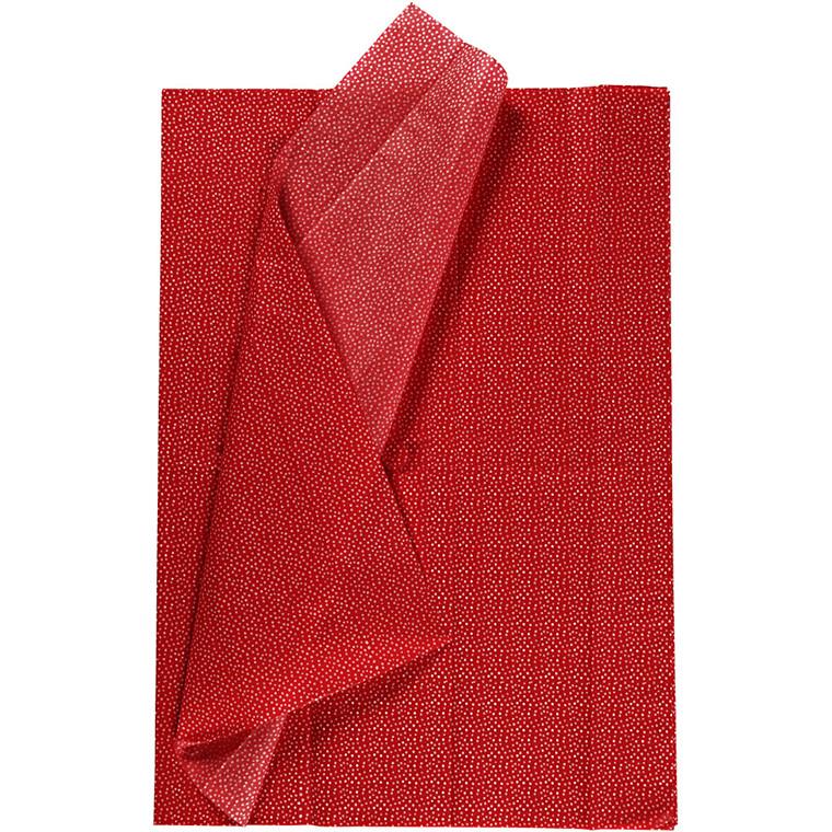 Silkepapir, ark 50x70 cm, 17 g, rød, 6ark