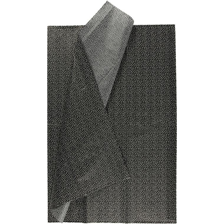 Silkepapir, ark 50x70 cm, 17 g, sort, 6ark