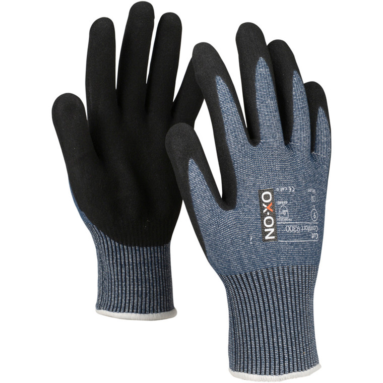 Skærehæmmende handske, OX-ON Cut Comfort, 7, blå, nitril/lycra, ribkant, lycra, skærefast, flergangs