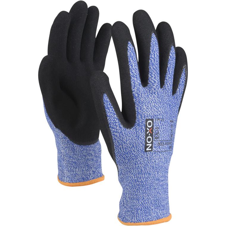 Skærehæmmende handske, OX-ON Cut Comfort, 9, blå, nitril/lycra, ribkant, lycra, skærefast, flergangs