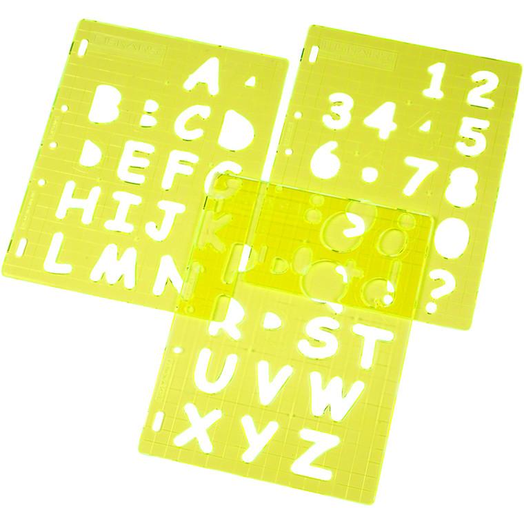 Skæreskabelon, ark 21x28 cm, store bogstaver og tal, 1sæt