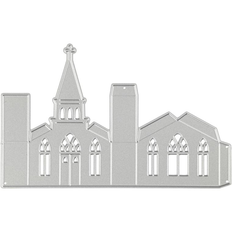 Skæreskabelon, str. 135x85 mm, kirke, 1stk.