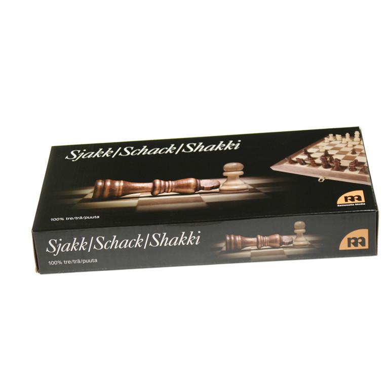 Skak i træmosaik luksus 35x18x5,5cm