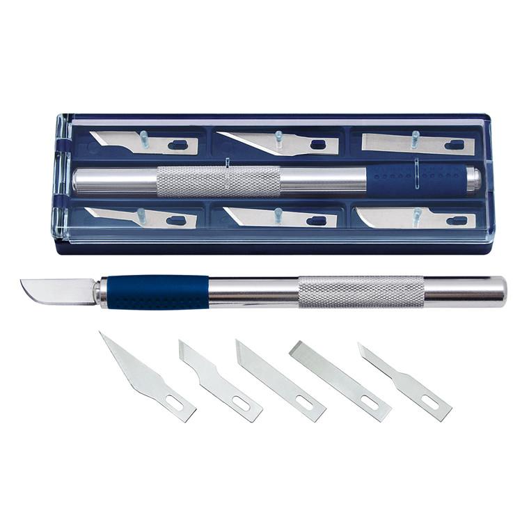 Skalpelsæt i boks Wedo med kniv og 6 blade
