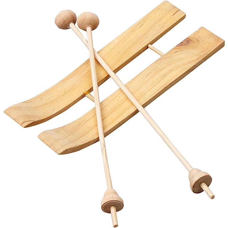 Ski med stave størrelse 11 x 3,8 cm fyr - 3 par