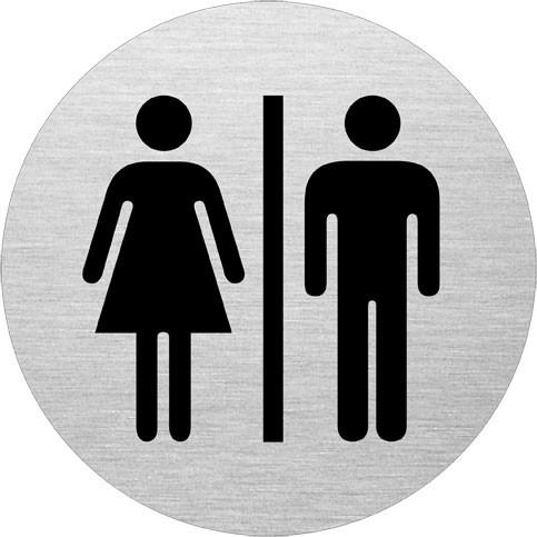 Skilt til Dame & Herre toilet - Skilt i aluminium  - Ø: 75 mm