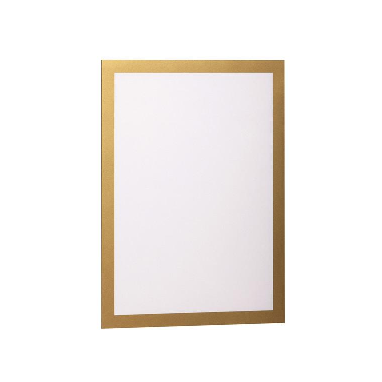 Skilt DURAFRAME® selvklæbende A4 m/guld ramme 2stk/pak