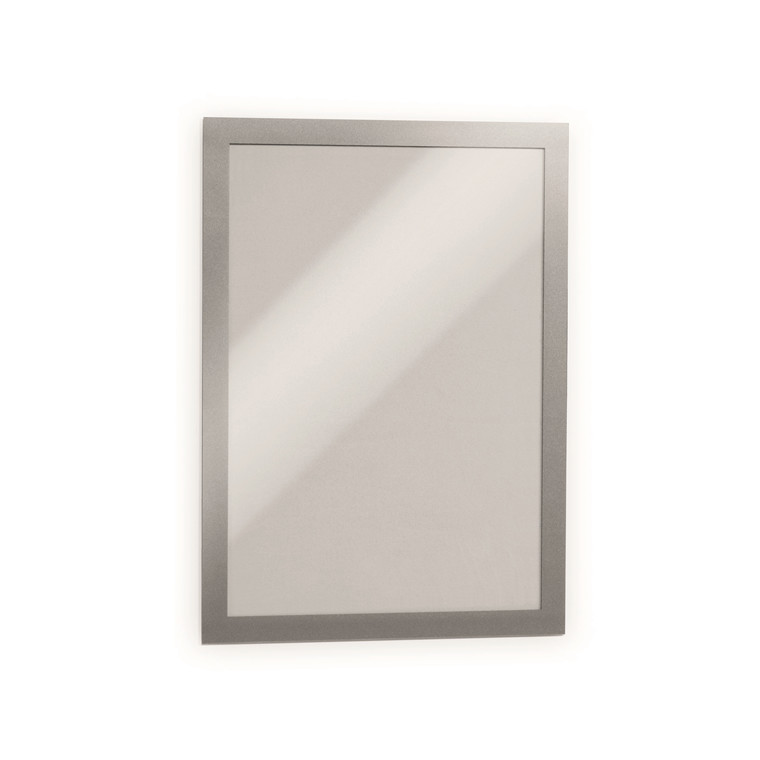 Skilt DURAFRAME® selvklæbende A4 m/sølv ramme 2stk/pak