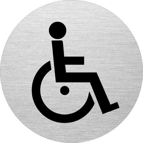 Skilt til Handicaptoilet - Toiletskilt i aluminium Ø: 75 mm