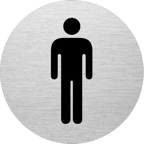 Dørskilt til Herretoilet - Infoskilt i aluminium - Ø: 75 mm