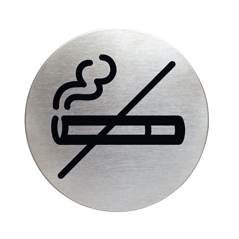Rygning forbudt skilt - Selvklæbende infoskilt i rustfrit stål Ø: 83 mm