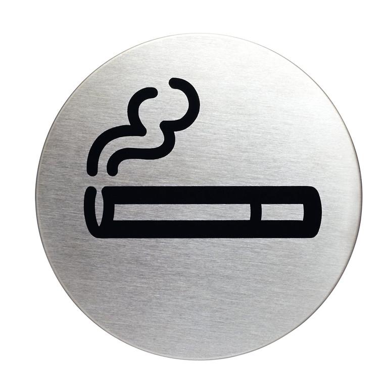 Skilt Rygning tilladt Ø:83mm rustfrit stål selvklæbende