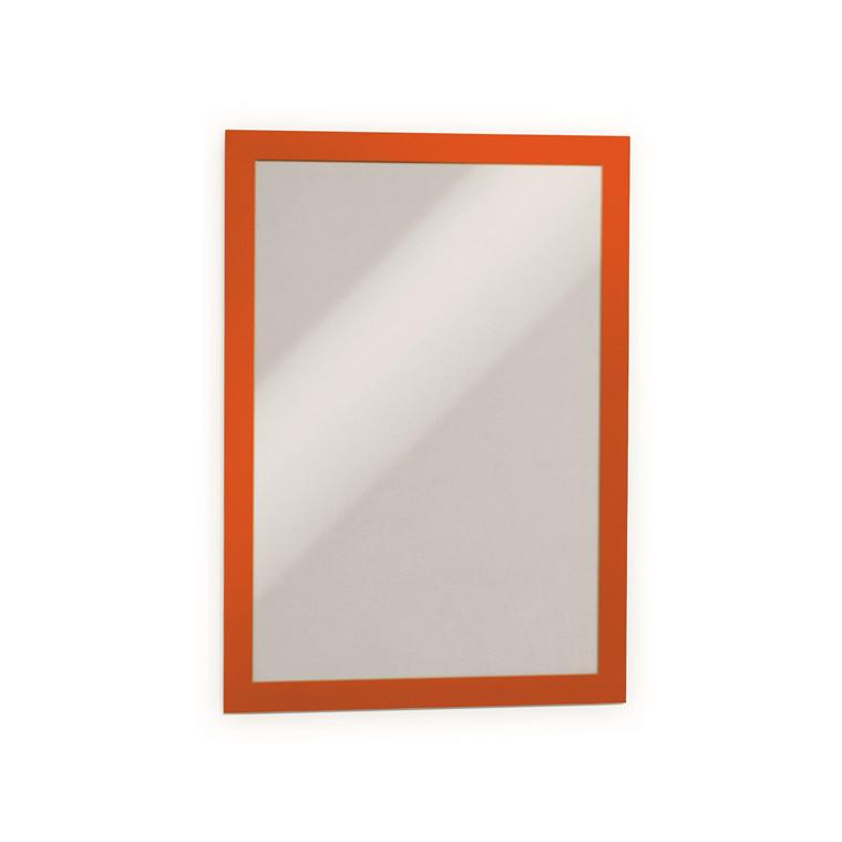 Skilt - selvklæbende A4 DURAFRAME® med orange ramme - 2 stk.