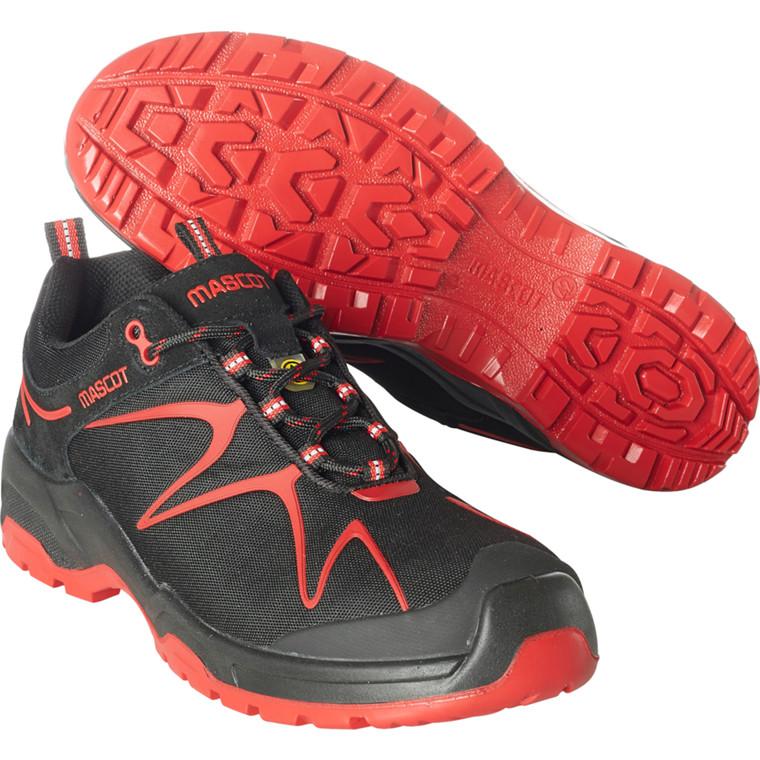 Sko, Mascot Footwear Flex, 42, rød, nylon/Imiteret ruskind, S3, SRC, ESD, med snørebånd, stigegreb, metalfri, herre