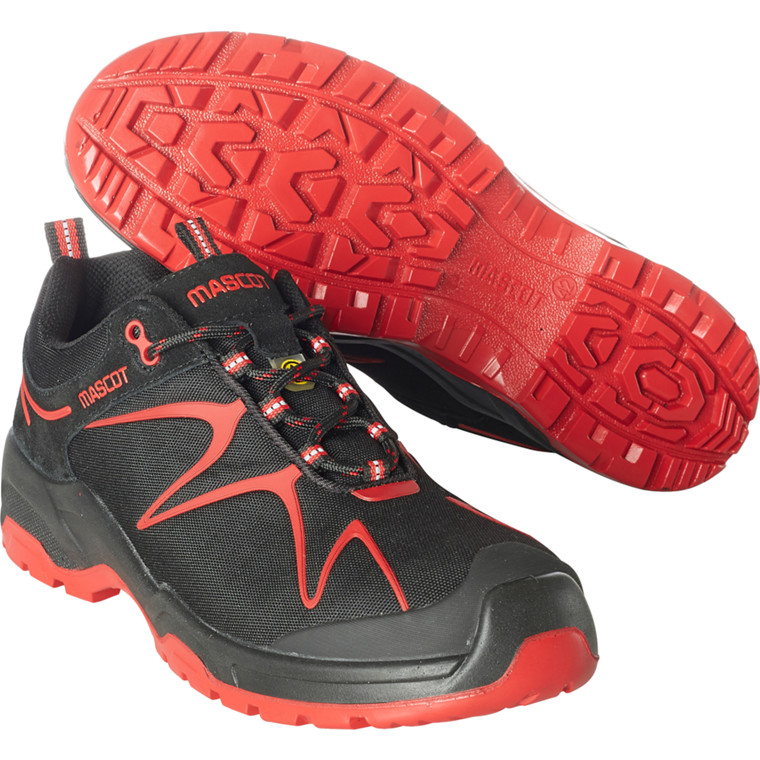 Sko, Mascot Footwear Flex, 44, rød, nylon/Imiteret ruskind, S3, SRC, ESD, med snørebånd, stigegreb, metalfri, herre