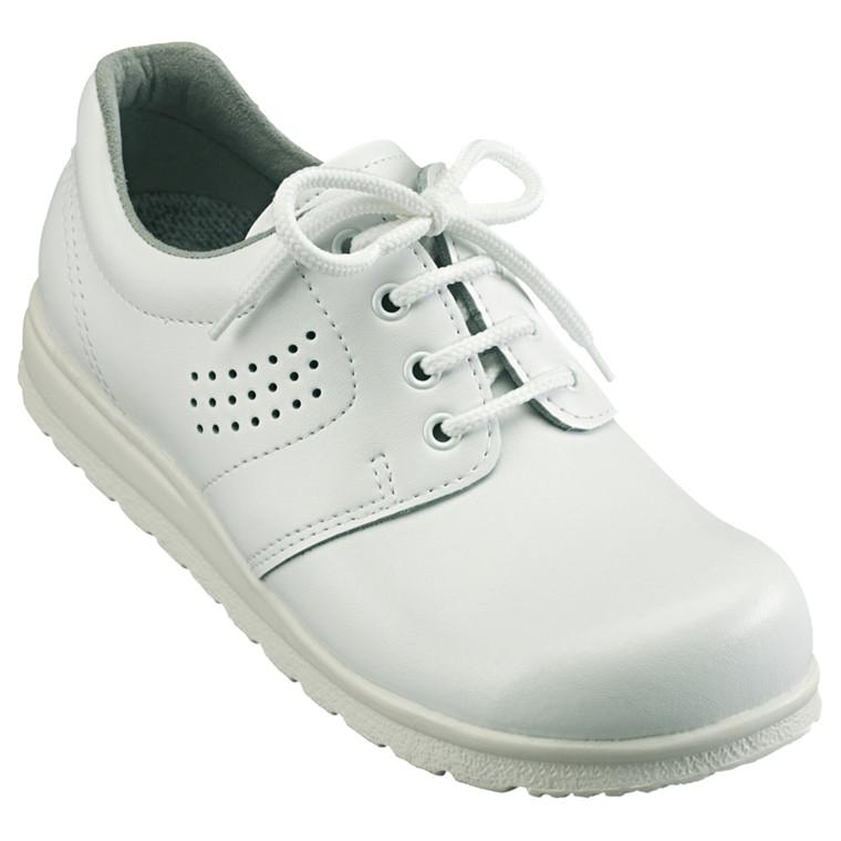 Sko med snøre, formstøbt vaskbar indlægssål, perforeret, hvid, str. 43,