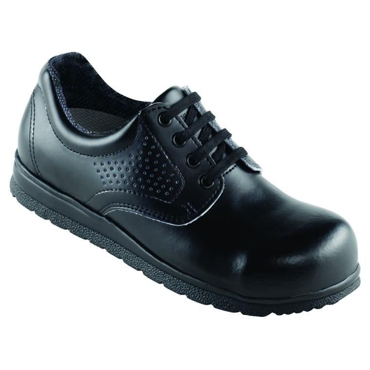Sko med snøre, formstøbt vaskbar indlægssål, perforeret, sort, str. 43,