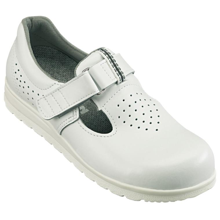 Sko med velcro, formstøbt vaskbar indlægssål, perforeret, hvid, str. 44,