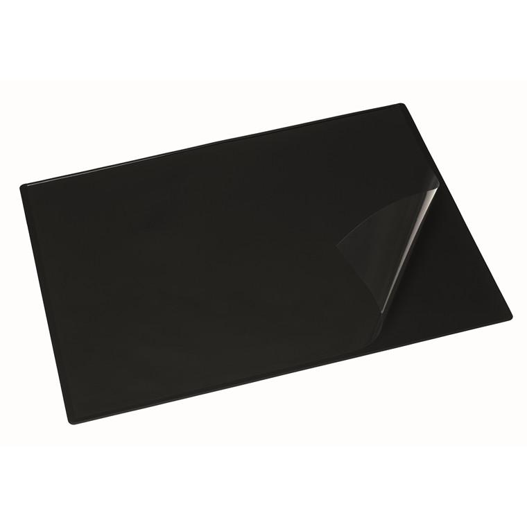 Skriveunderlag 49x65 cm m/transparent dækplade sort