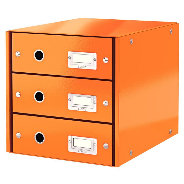 Leitz Click & Store skuffekabinet med 3 skuffer - Orange