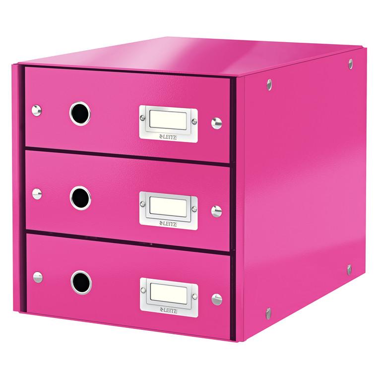 Leitz Click & Store skuffekabinet med 3 skuffer - Pink