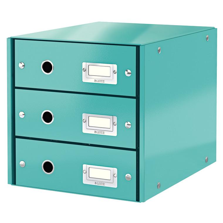 Leitz Click & Store skuffekabinet med 3 skuffer - Isblå