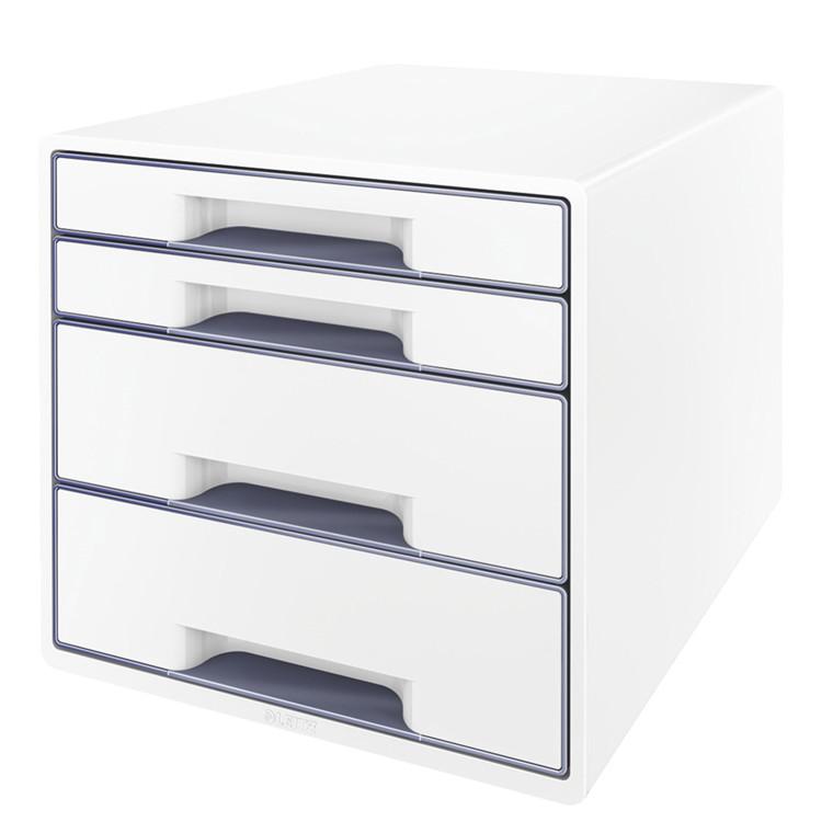Skuffekabinet Desk Cube Leitz WOW hvid/grå 4 skuffer