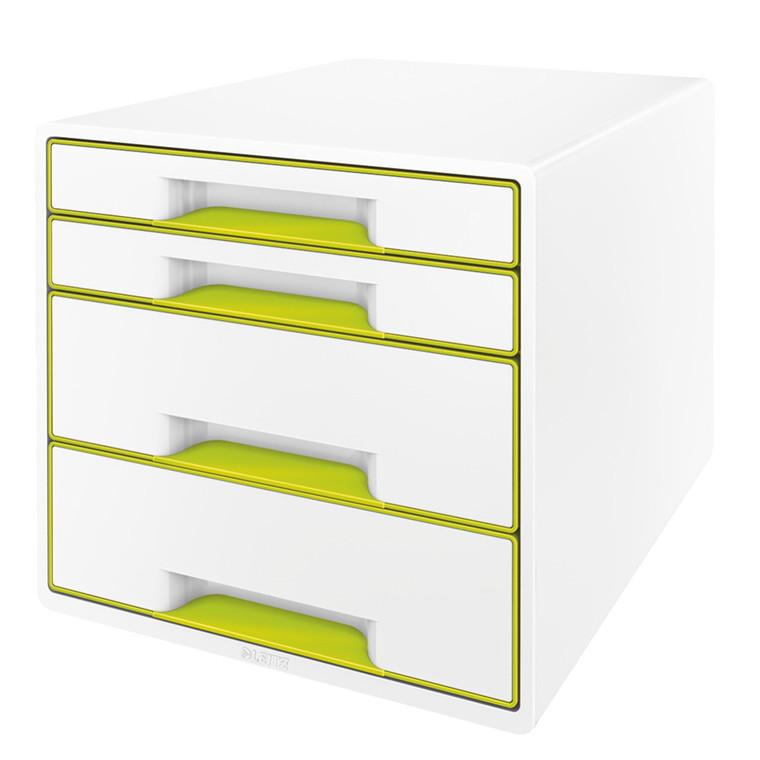 Skuffekabinet Desk Cube Leitz WOW hvid/grøn 4 skuffer