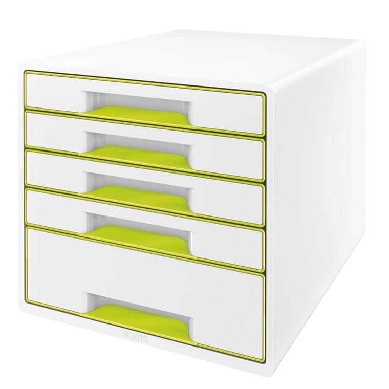 Skuffekabinet Desk Cube Leitz WOW hvid/grøn 5 skuffer