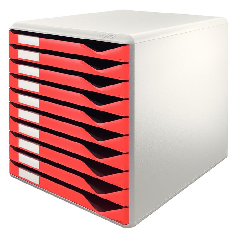 Leitz Post A4 skuffekabinet med 10 skuffer - rød