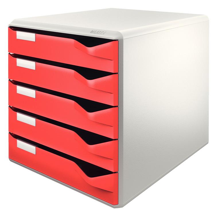 A4 skuffekabinet med 5 røde skuffer - Leitz Post