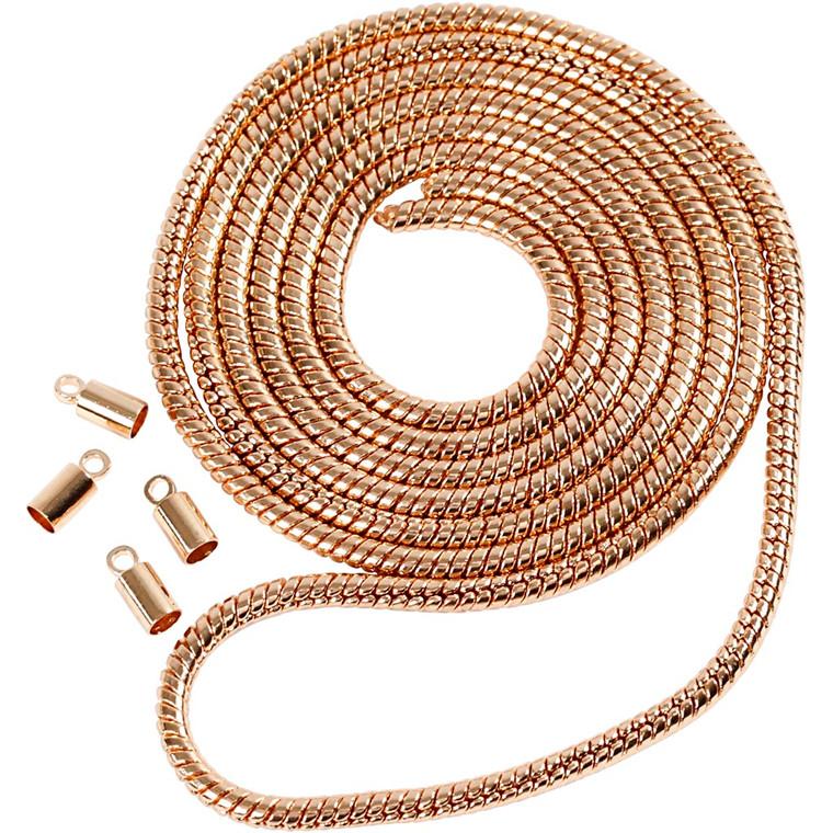 Slangekæde, dia. 3,1 mm, rosaguld, 1m