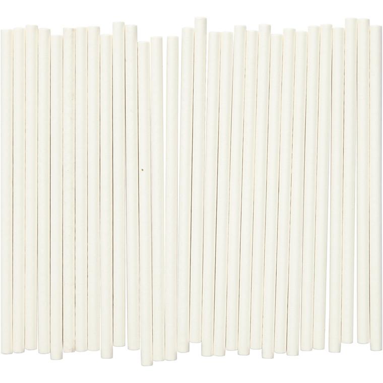 Slikkepinde længde 10 cm diameter 4 mm hvid | 500 stk.