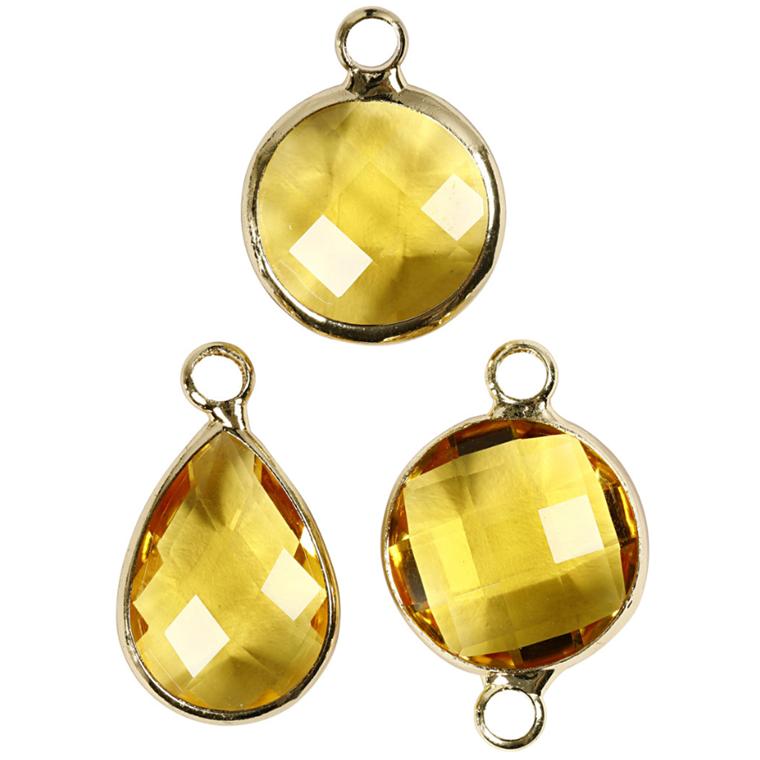 Smykkevedhæng, H: 15-20 mm, hulstr. 2 mm, gul, 1pk.