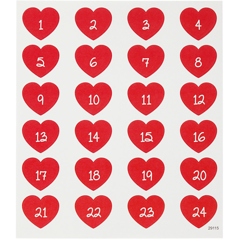 Soft Stickers, ark 15x16,5 cm, 24 stk., kalendertal, 1ark