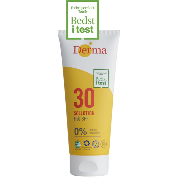 Sollotion SPF 30, Derma Helse, uden farve og pafume, 200 ml