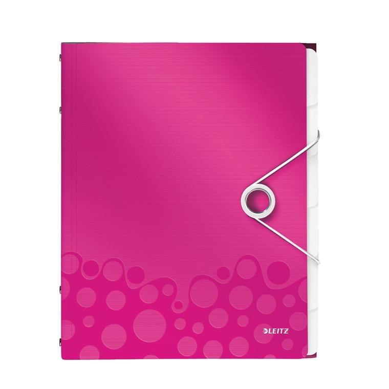 Sorteringsmappe A4 Leitz WOW med 6 rum - Pink